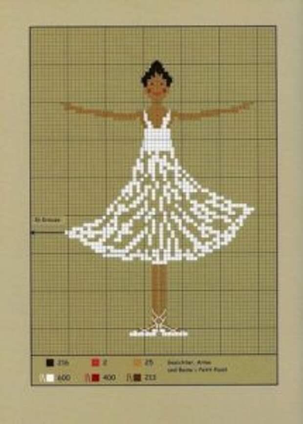 Танцующая балерина в вышивке крестиком