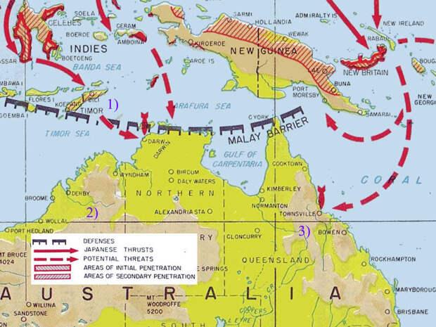 Северное побережье Австралии в годы Второй мировой войны. Цифрами обозначены: 1) остров Тимор, 2) штат Западная Австралия, 3) штат Квинсленд. globalsecurity.org - «Неистовые орлы» в стране кенгуру | Warspot.ru