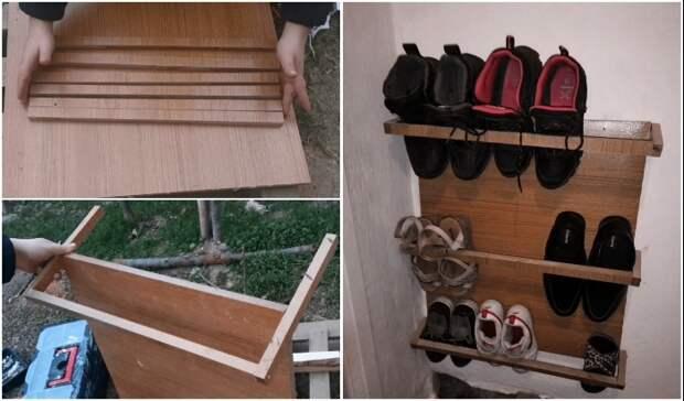 Как из остатков ДСП сделать мини-обувницу для прихожей