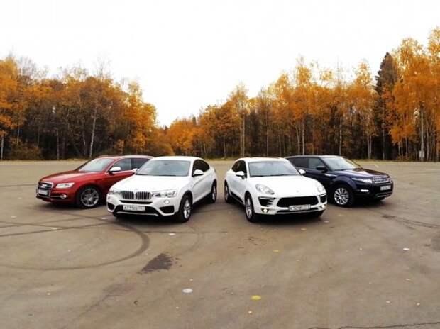 Видеоанонс большого теста: Porsche Macan S и BMW X4 против Audi SQ5 и Range Rover Evoque