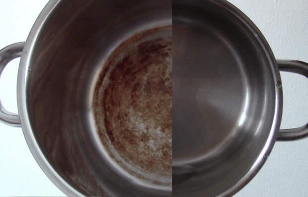Чистка кастрюли из нержавейки: до и после.