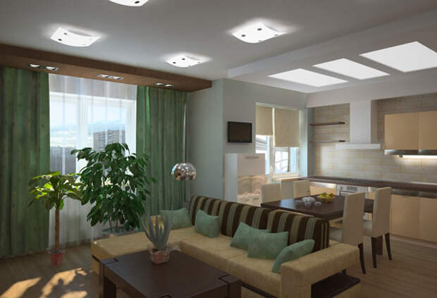 освещение кухни совмещенной с гостиной