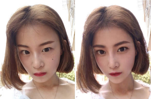 11 фото азиатских девушек доипосле FaceTune