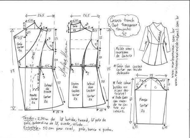 Выкройка модного женского пальто