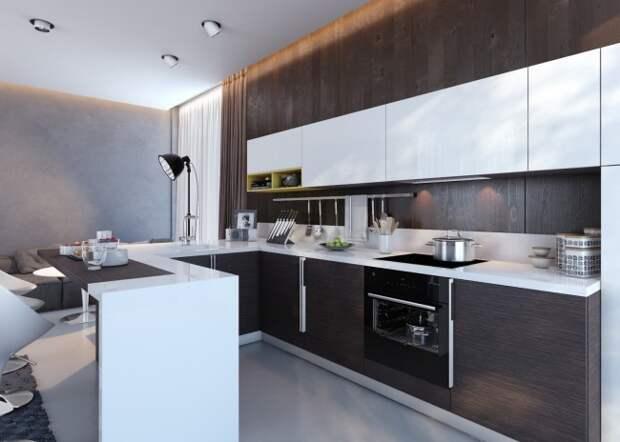 Современная кухня-студия, выдержанная в строгой цветовой гамме: темно-коричневый венге в сочетании с белым и светло-серым