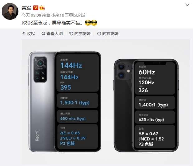 Флагман Redmi получил более качественный экран, чем iPhone 11