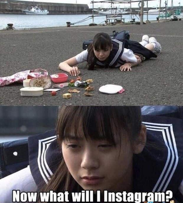 Японская школьница уронила обед