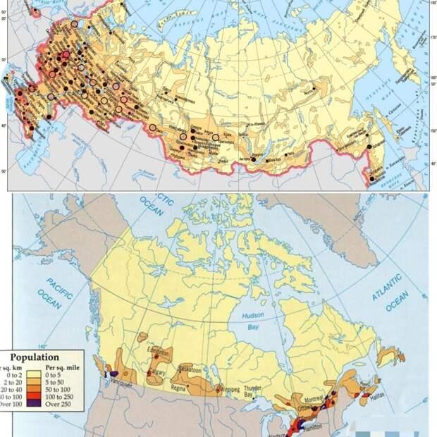 Плотность населения Россия / Канада