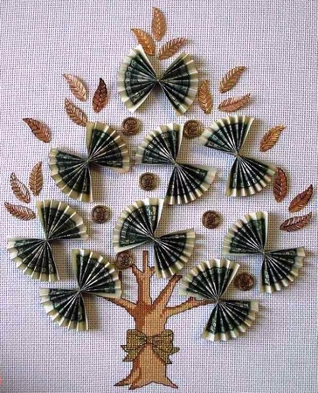 Оригами из денег дерево