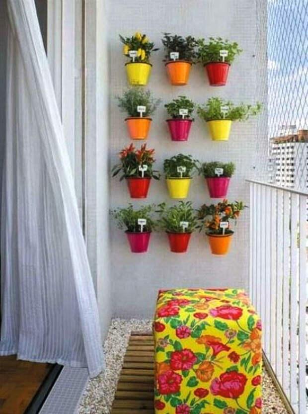 Подвесные разноцветные горшки. | Фото: HOMEINFO.hu.