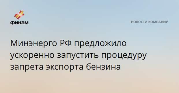Минэнерго РФ предложило ускоренно запустить процедуру запрета экспорта бензина