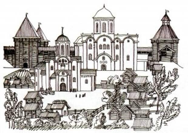 Главная часть Старой Рязани. На первом плане Спасский собор, за ним— Борисоглебский; сзади слева—Южные ворота, справа—угловая юго-западная башня. Реконструкция В. Даркевича и Г. Борисевича.