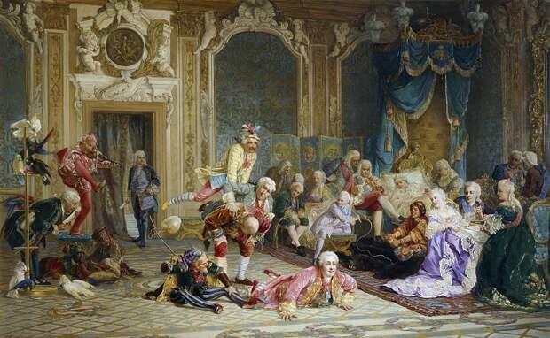 Шуты при дворе императрицы Анны Иоанновны. <br> В. Якоби, 1872 год.   Фото: runivers.com.