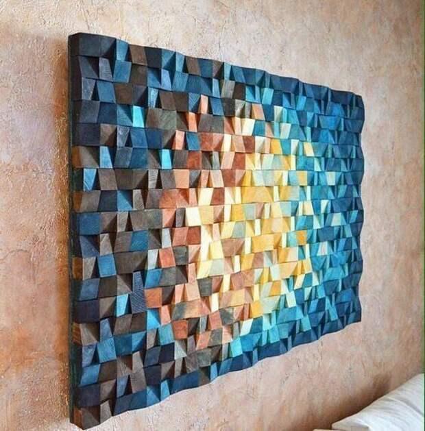 Картина из деревянных брусочков