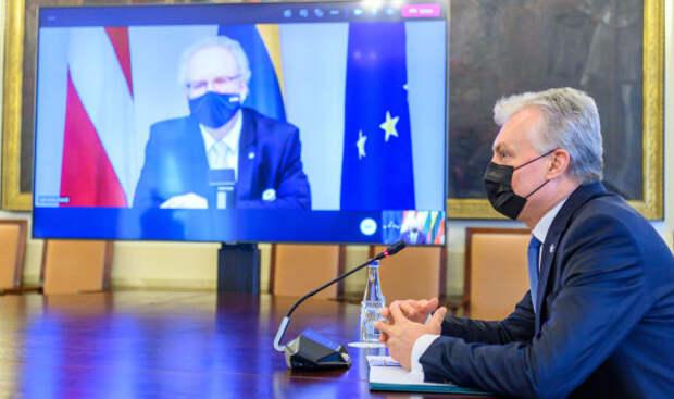 Президент Литвы Гитанас Науседа во время онлайн-встречи с президентом Латвии Эгилсом Левитсом, 12 февраля 2021