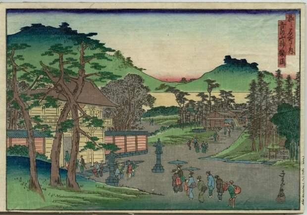 Из серии «Знаменитые места в столице», 1870–71 год. Автор: Хасэгава Саданобу.