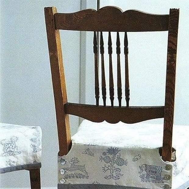 Простая выкройка аккуратно выглядящего чехла на сиденье столового стула