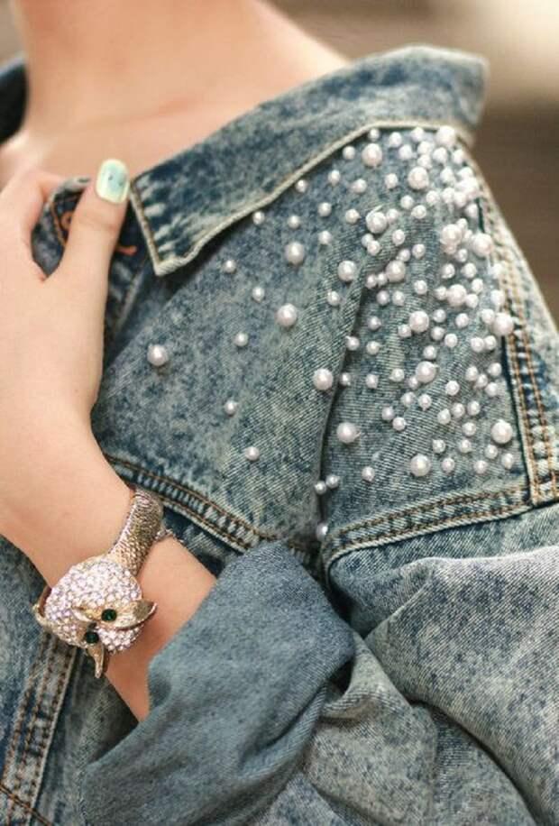 джинсовая куртка с бусинами