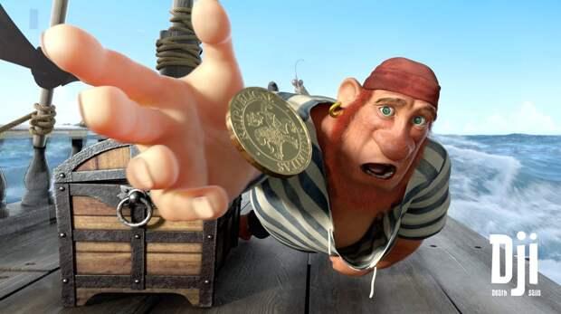Забавный мультфильм про жизнерадостную смерть и скупого пирата.