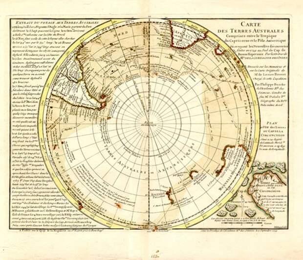 Загадочная карта Бюаша, изображающая Антарктиду безо льда: была ли там цивилизация