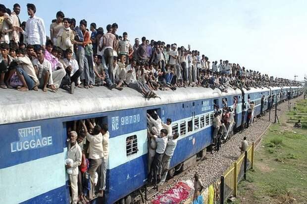Индийские поезда - самые вместительные в мире автобус, люди, метро, общественный транспорт, работа, электричка