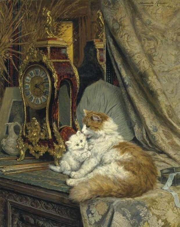 Мама-кошка и котенок с часам. 1897