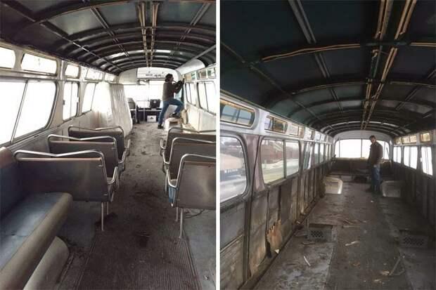 Вот так выглядел салон автобуса на момент покупки автобус, дизайн, дом, идея, проект, сделай сам, фото