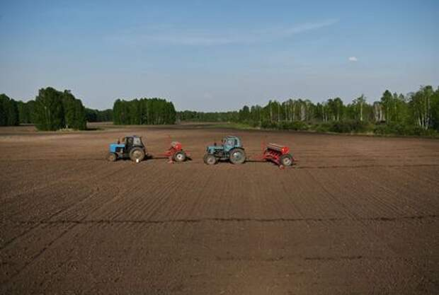 Tractors with seeders are seen in a field as employees sow wheat outside the village of Koltyugino in Omsk region, Russia May 14, 2020. Picture taken May 14, 2020. REUTERS/Alexey Malgavko