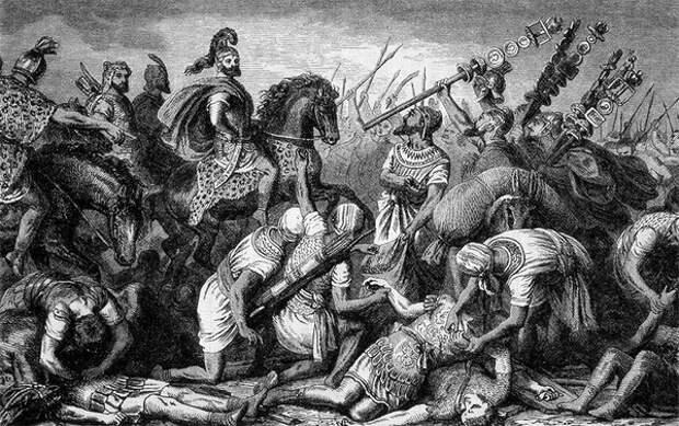 Войско Ганнибала разгромило римлян, сбор трофеев после битвы