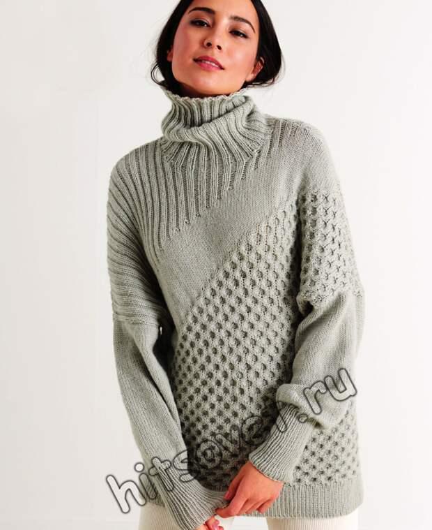 Стильный женский свитер с диагональными узорами