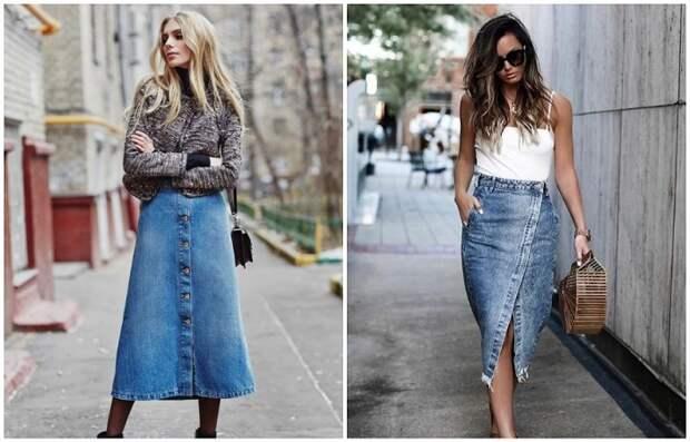 Джинсовая юбка миди может быть разных фасонов