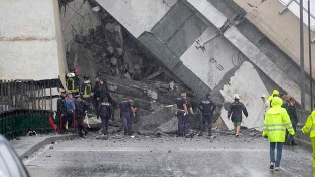 В Италии обрушился мост в Генуе, погибли люди