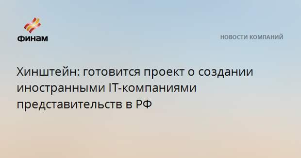 Хинштейн: готовится проект о создании иностранными IT-компаниями представительств в РФ