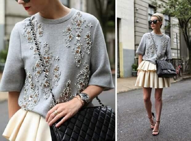 стильный свитер с вышивкой
