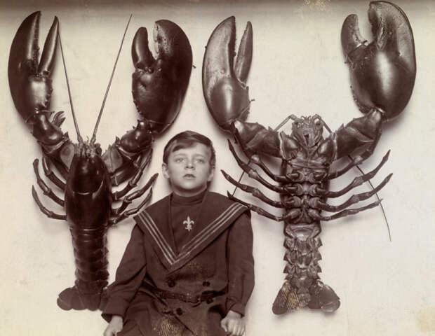 Мальчик с гигантскими омарами, 1915 год.