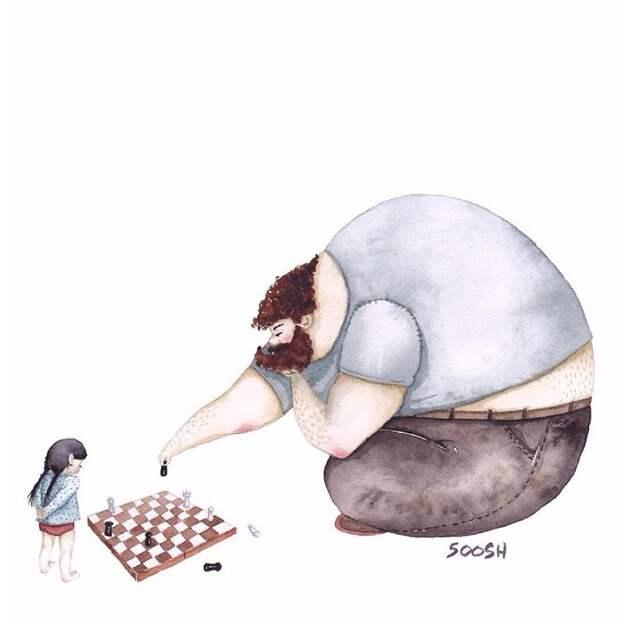 14 трогательных иллюстраций украинской художницы о любви отца и дочери