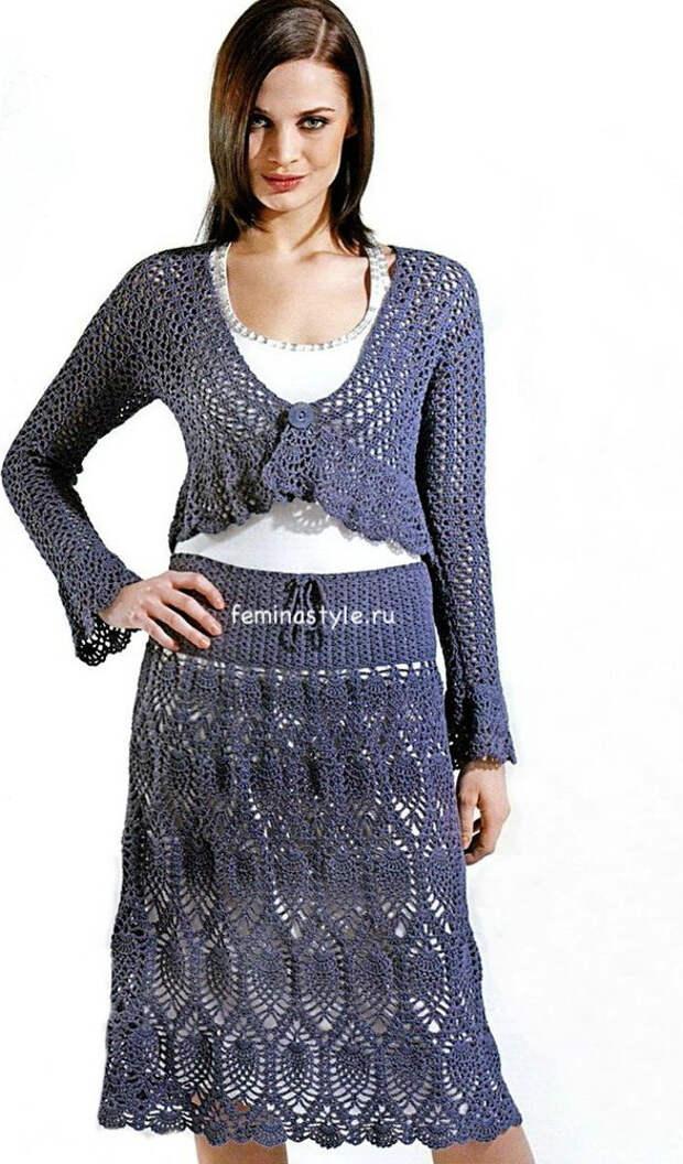 Вязание крючком ажурной юбки и болеро