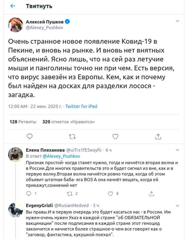 """Пушков указал на загадку новой вспышки COVID-19. Народ заговорил о """"геноциде"""" с вакциной"""