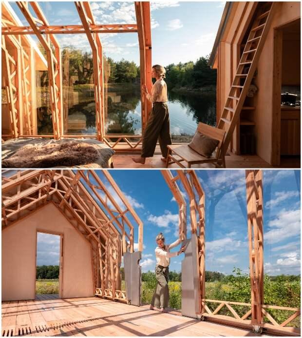 Стоит приложить небольшие физические усилия и крошечный дом увеличится в два раза (Cabin ANNA).