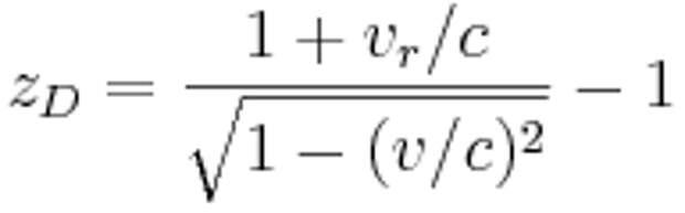 z_D = \frac{1 + v_r/c}{\sqrt{1 - (v/c)^2}} - 1