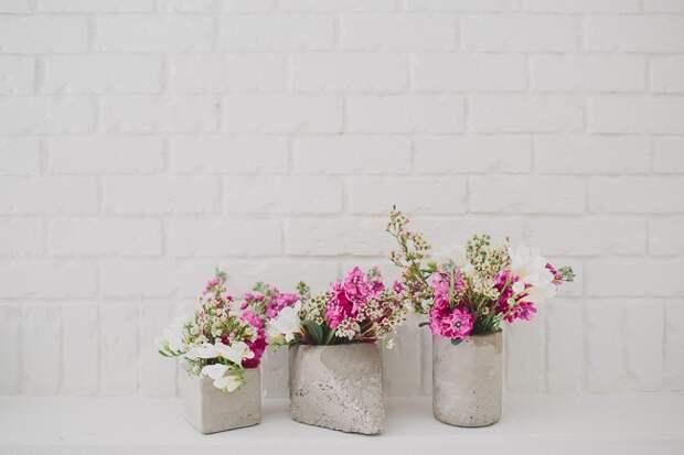 Цветы в фигурных вазах (Diy)