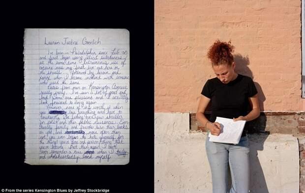 """Девушка по имени Лорен написала в своей тетради, что переехала в Филадельфию в феврале 2008 и """"тогда же начала употреблять незаконные вещества"""" америка, люди, наркомания, наркоманы, сша, уличные фотографы, фото, фотограф"""