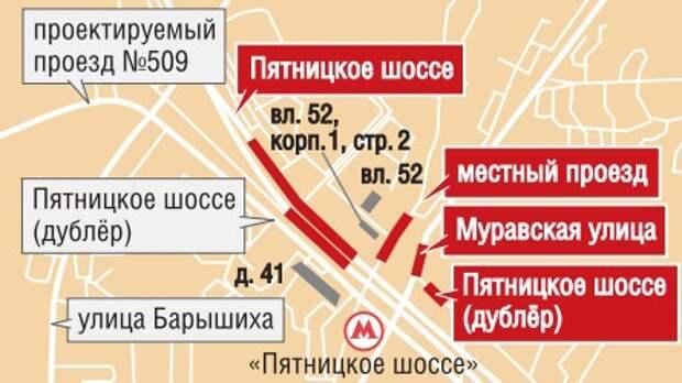 Возле станции метро Пятницкое шоссе изменилась схема проезда