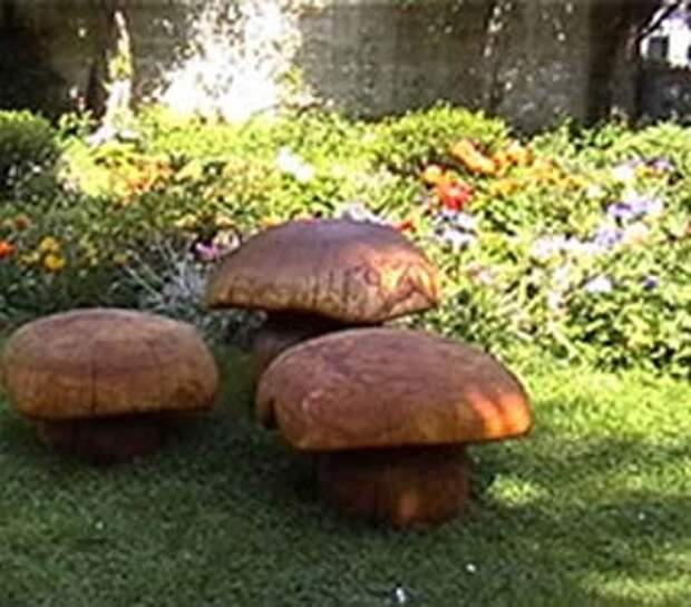скамейкидля дачи в виде гриба