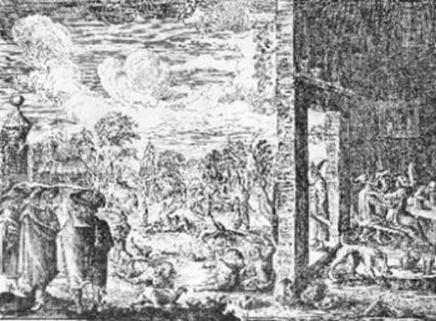 Рисунок Адама Олеария, изображающий кабак с его обитателями.