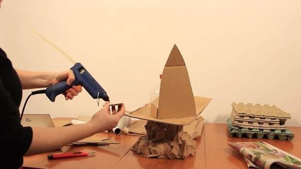 Создаем каркас домика из кусков картона и уголков от коробок из-под пиццы инструкция, светильник, светильник своими руками, своими руками, сделай сам, хенд-мейд, хендмейд, хендмейд-мастер