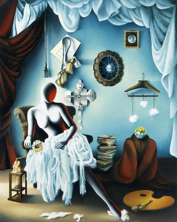 Картины безликих фигур. Mark Kostabi