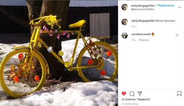 Фото дня: в Бабушкинском появился весенний велосипед