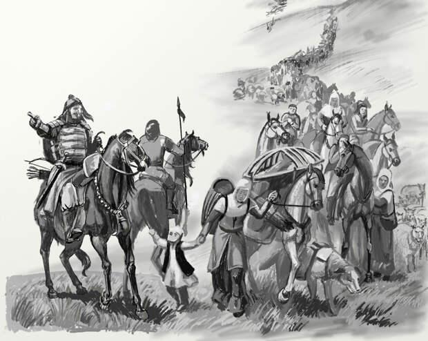 иллюстрация к сказке «Сказание о Жанбулат и Карабатуре-людоеде»