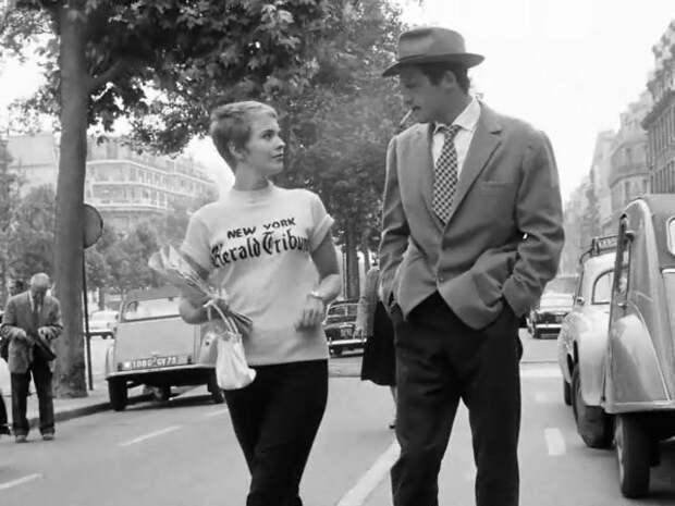 Жан-Поль Бельмондо и Джин Сиберг на съемках фильма «На последнем дыхании», 1959 год.